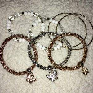 Jewelry - Lot of Bracelets and Bangles. Gold/Silver/White